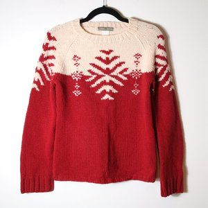 J Crew Hand Knit Red Snowflake Nordic Sweater Size Small